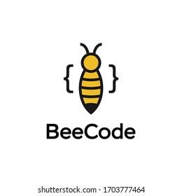 Simple Bee Code Logo Design Icon Vector