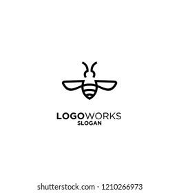 simple bee logo  icon designs vector