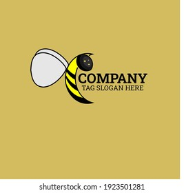 the simple bee for logo of the vision work hard and word of team