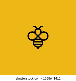 Simple bee logos with vector line art style