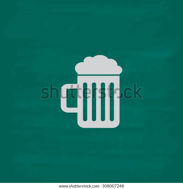 Simple Beer mug. Icon. Imitation draw with white chalk on green chalkboard. Flat Pictogram and School board background. Vector illustration symbol