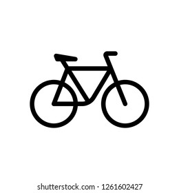 Simple bicycle, linear outline icon of bike. Black icon on white background