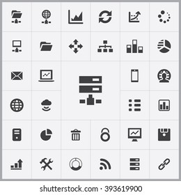 Simple big data icons set. Universal big data icons to use for web and mobile UI, set of basic big data elements