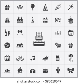 Simple birthday icons set. Universal birthday icons to use for web and mobile UI, set of basic birthday elements