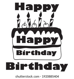 simple birthday illustration vector for birthday card
