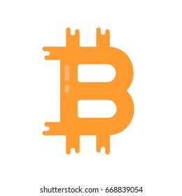 simple bitcoin logo like crypto currency. flat trend modern logotype or premium quality graphic design isolated on white background. concept of virtual anonymous crypto currency service or system