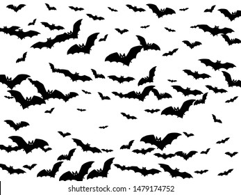 Simple black bats flock isolated on white vector Halloween background. Flying night creatures illustration. Silhouettes of flying bats vampire Halloween symbols on white.
