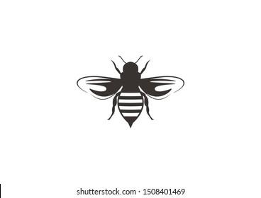 simple black bee vector silhouette