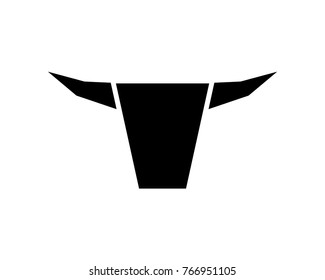Simple Black Bull Head Modern Logo Abstract