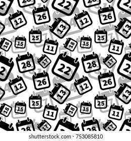 A lot of simple black calendar icons on white, seamless pattern