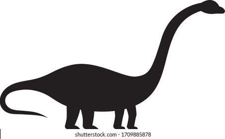 Simple Black Cartoon Drawing of a Dinosaur Brachiosaurus