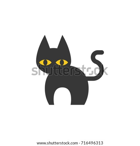 Simple Black Cat Halloween Icon Use Stock Vector Royalty Free