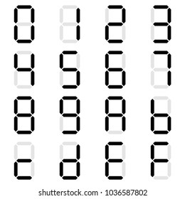 Simple black Digital number set of seven segment type on isolate white background for graphic idea design concept