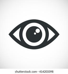Simple black eye icon vector with double reflection in pupil. Round flare. Medicine symbol isolated. Safety and search concept. Laconic graphic design element. Eyesight pictogram. Isolated on white.