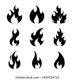 Simple black fire flames set isolated on white background. Collection of silhouette light effect elements for web, game, design, app. Vector illustration