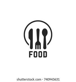 simple black food logo with kitchenware. concept of eating emblem for canteen or dining room. flat style trend modern catering logotype graphic card design illustration element isolated on white