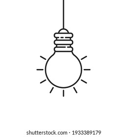 simple black hanging thin line light bulb. lineart style trend modern logotype graphic stroke art design isolated on white. concept of think outside the box or bright rays in night or illumination