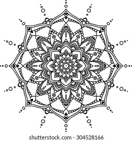 Simple black indian mandala on the white background.