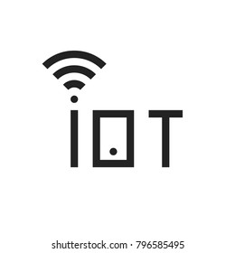 simple black iot thin line logo. concept of internet of things for futuristic digital world with wi-fi waves or cybersecurity. contour flat trend modern iiot logotype graphic design isolated on white