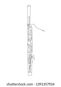 Simple black line drawing of outline Bassoon musical instrument contour