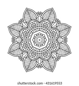 simple black line floral orient mandala on white background, vector illustration