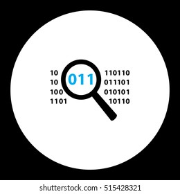 simple black magnifier analyze source binary code eps10