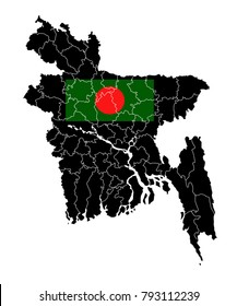 Simple Black Map Of Bangladesh With Flag Isolated On White Background,Map and National flag of Bangladesh,Vector Illustration Flag and Map of Bangladesh for continue.