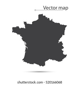 Simple Black Map Of France Isolated On White Background. Vector Illustration