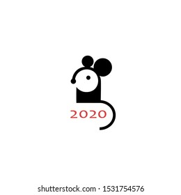 Simple black Mouse symbol of 2020 year. Chinese animal zodiac new year greeting card. Cute mice icon design. Rat logo. Vector isolated illustration