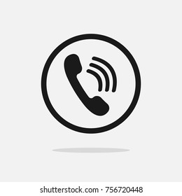 Simple black phone call sign illustration for design