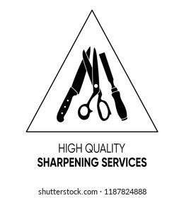 Simple black sharpening services icon vector illustration isolated