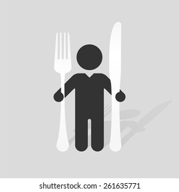 Simple black silhouette of a man with a large knife and fork