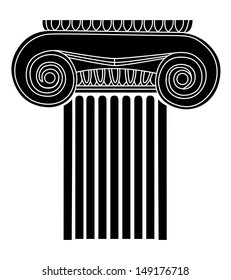 simple black silhouette of the old Greek column. vector illustration
