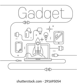 Simple black technological illustration with  wires, chargers tablet, phone, laptop and a rocket.