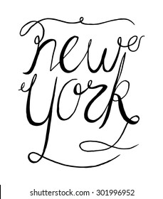 Simple Black Text Design for New York City
