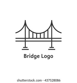 simple black thin line bridge logo. concept of place, visual identity, real estate contour, suspension bridge. flat style trend modern brand graphic art design vector illustration on white background