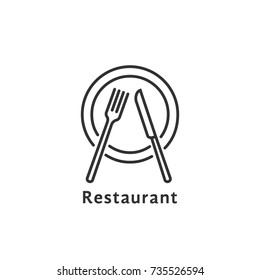 simple black thin line restaurant logo. concept of nutrition service or serving dishes in dining room or canteen. contour flat style trend stroke logotype graphic art design element isolated on white