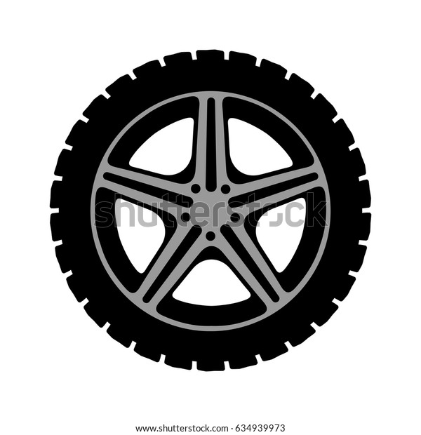 Simple black tire - stock vector