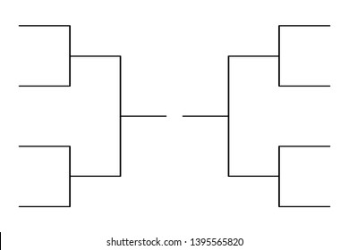 Simple black tournament bracket template for 8 teams isolated on white