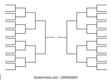 Simple black tournament bracket template for 32 teams isolated on white
