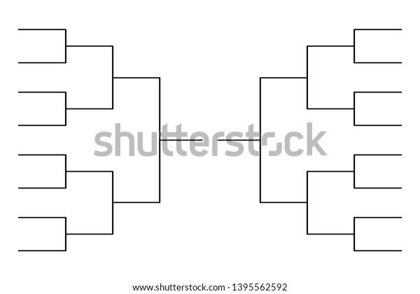 Simple Black Tournament Bracket Template 16 Stock Vector Royalty Free 1395562592