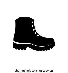 Simple black vector boots icon isolated on white