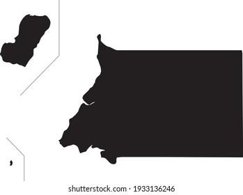 Simple black vector map of the Republic of Equatorial Guinea