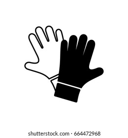 Simple black vector protective gloves pair icon isolated