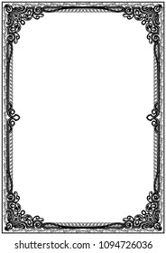Simple black and white certificate frame border. Tangier design.