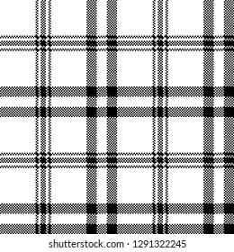 Simple black white check plaid seamless pattern. Vector illustration.