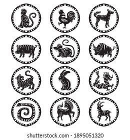 Simple black and white Chinese zodiac signs collection