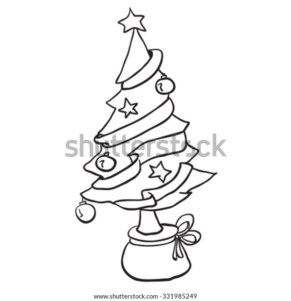 simple black white christmas tree cartoon stock vector royalty free 331985249 https www shutterstock com image vector simple black white christmas tree cartoon 331985249