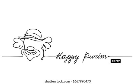 Simple black and white clown sketch, doodle. Happy purim vector background with clown. One continuous line drawing with lettering Happy purim