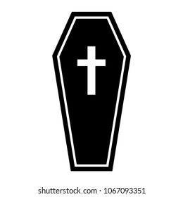 Simple, black and white coffin icon (flat). Isolated on white